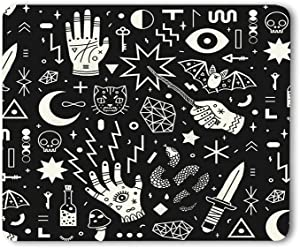 Moslion Witchcraft Mouse Pad Magical Style Hand Eyes Moon Skull Cat Bat Snake Key Gaming Mouse Mat Non-Slip Rubber Base Thick Mousepad for Laptop Computer PC 9.5x7.9 Inch
