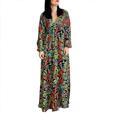 Vestidos Sueltos Mujer Tallas Grandes Flores Informal Maxi Vestido De Manga Larga Con Cuello En V Para Mujer Vestido Invierno Bohemio Floral Verde S Amazon Es Ropa Y Accesorios