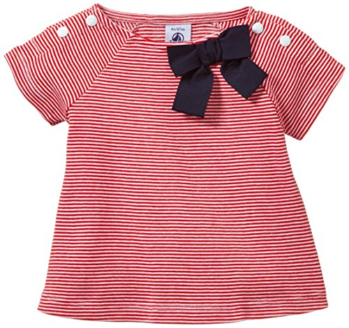 Petit Bateau Striped Tee with Bow (Baby) - Red / White-18 Months