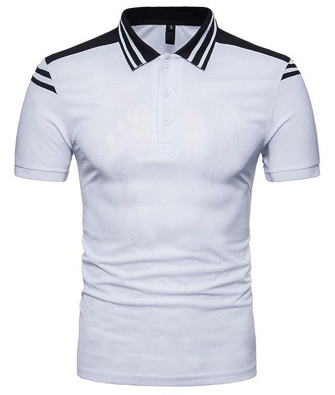 XiaoTianXin-men clothes XTX Mens Short Sleeve Cotton Patchwork Button Top Polo Shirts
