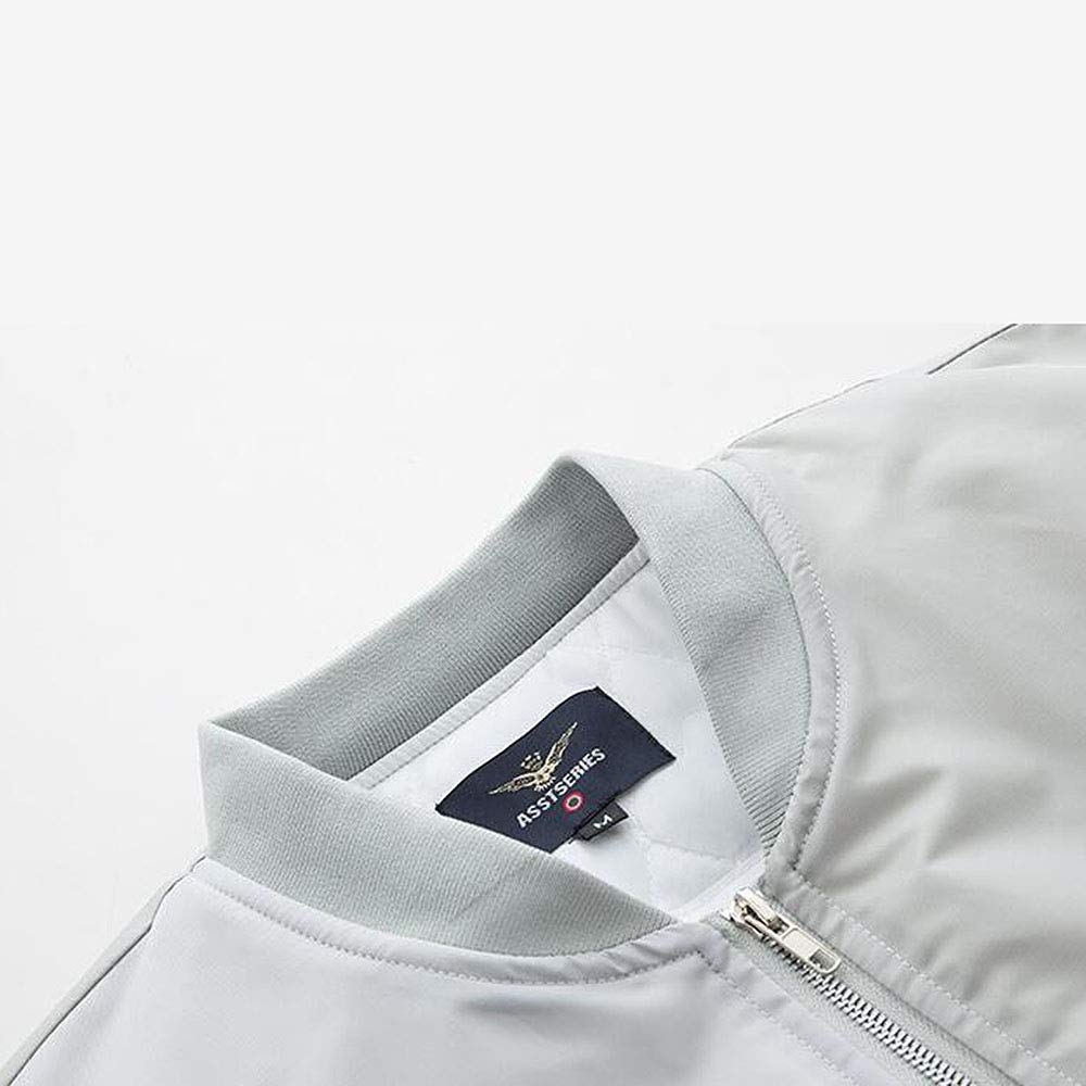 ANLW Giubbotto Felpa Manica Lunga da Uomo Manica Lunga con Logo NASA Flight MA-1 Flight Giacca a Vento Antivento Cappotto Impermeabile,Grigio,XL