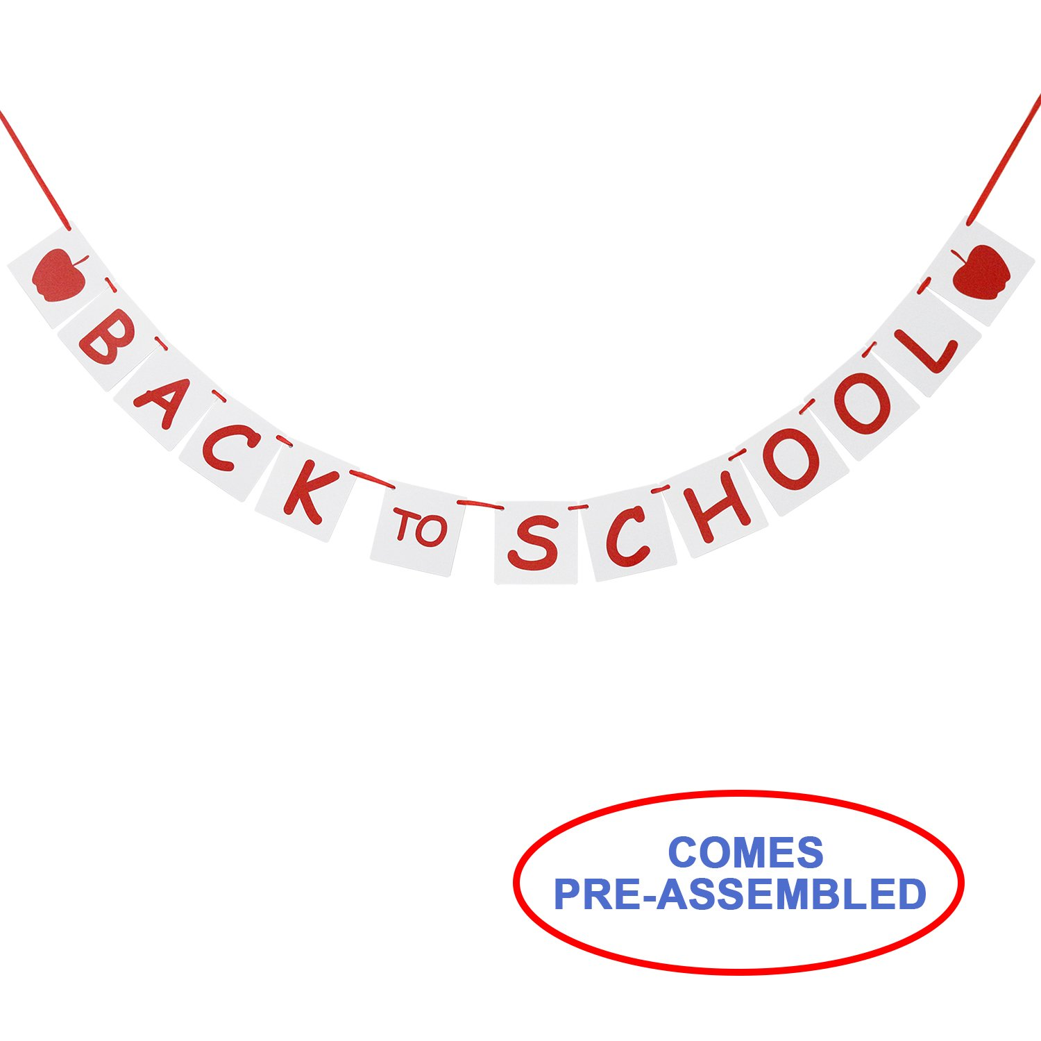 Back To School Banner With Apple Sign - First Day of School - Teacher Banner - Classroom Decor - Back To School Party Decoration Photo Props   B073Z6JNFF