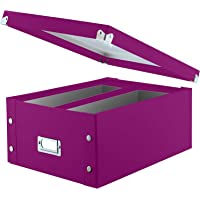 """Snap-N-Store Double Wide CD Storage Box, 6.125"""" x 10.5"""" x 14"""", Holds up to 330 CDs/DVDs, Berry (SNS03316)"""