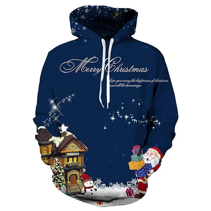 507923f424431 AIMEE7 Pull Noel Homme Grande Taille Imprimé Créatif Unisexe Sweatshirt  Femme Sweat à Capuche Manches Longues