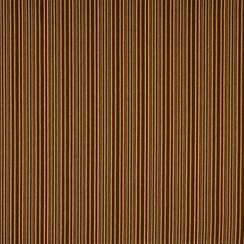 F475 Red Green and Brown Thin Stripe Woven Upholstery Fabric by The ()