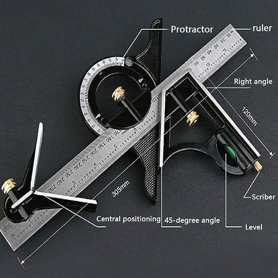 Combinaison r/églable carr/é Ensemble de Right Angle R/ègle en acier inoxydable de pr/écision ing/énieur de menuiserie Outil de mesure