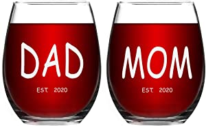 Dad and Mom Wine Glass Set - Est 2020 New Mom and Dad Gifts - Unique Christmas Gift for New Parents - Perfect Presents for New Mom, Baby Shower, New Pregnancy, Baby Announcement or Daily Use 15Oz
