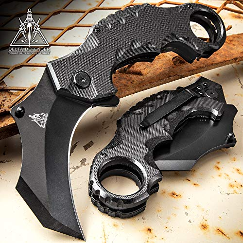 K EXCLUSIVE Delta Defender Assisted Opening Black Karambit Knife - Stainless Steel Blade, Non-Reflective Coating, G10 Handle Scales, Pocket ()