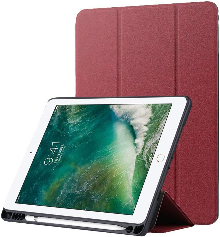 Billionn Smart Case for iPad Pad Mini 5th Generation 2019 / iPad Mini 4 with Apple Pencil Holder Trifold Stand Auto Sleep/Wake [Ultra-Thin] [Ultra-Light], Wine Red