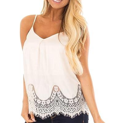 eea45f6b09bc88 Hmlai Hot Sale Women Summer Lace Cami Vest Sleeveless Blouse Casual Loose Tank  Tops T-Shirt
