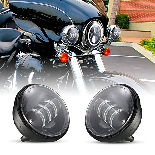 Harley Davidson 4.5 Inch Cree LED DOT Approved Fog Light fit w/Electra Glide Heritage Softail Road King Motorcycle Passing Lamp with EMC Function & Waterproof IP 67 and Ventilation Breather Hole Des]()