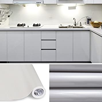 KINLO Tapeten Küche Grau 61x500cm Aus Hochwertigem PVC Klebefolie Aufkleber  Küchenschränke Wasserfest Aufkleber Für Schrank Selbstklebende