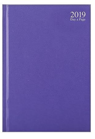 Agenda 2019 A4 con vista diaria, color rosa pastel, azul claro o morado, día a página, sábado y domingo, página compartida, color morado A4