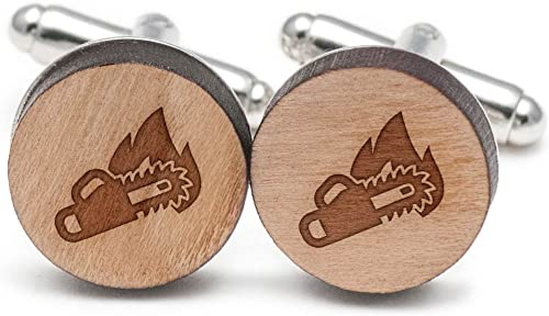 Cherry Wood Tie Bar Engraved in The USA Wooden Accessories Company Wooden Tie Clips with Laser Engraved Chainsaw Design
