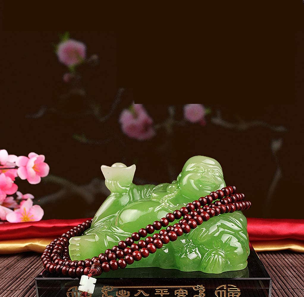 Prime Feng Shui Resin Laughing Buddha Hold Ingot Statue with Crystal Base and Long Bead Ornaments Bless Safety and Wealth Car Home Office Decoration Green,M