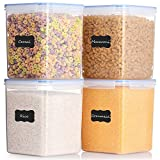 ME.FAN Food Storage Containers [Set of 4] Airtight Storage Keeper 5.2L(175.9oz) with 24 FREE Chalkboard labels Ideal for Sugar, Flour, Baking Supplies - Clear Plastic with Blue Lids