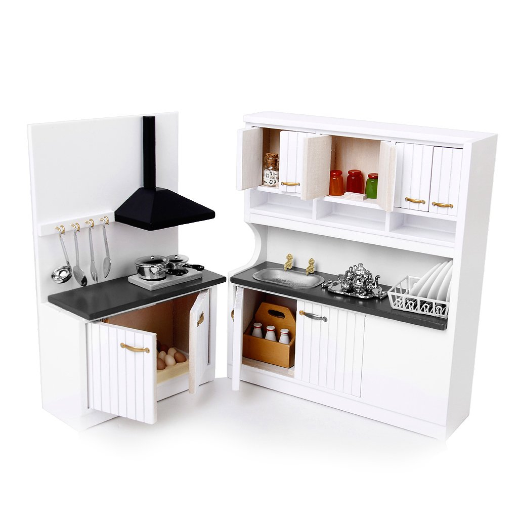 mini doll furniture. 1:12 Dollhouse Miniature Furniture Wooden Kitchen Set: Amazon.co.uk: Toys \u0026 Games Mini Doll