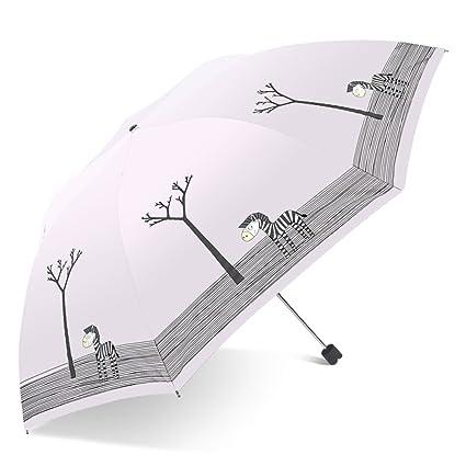 ZYLBB Para Mujer Moda Paraguas Paraguas Plegable De Doble Uso Limpio Estudiante Dibujos Animados Lindo Paraguas