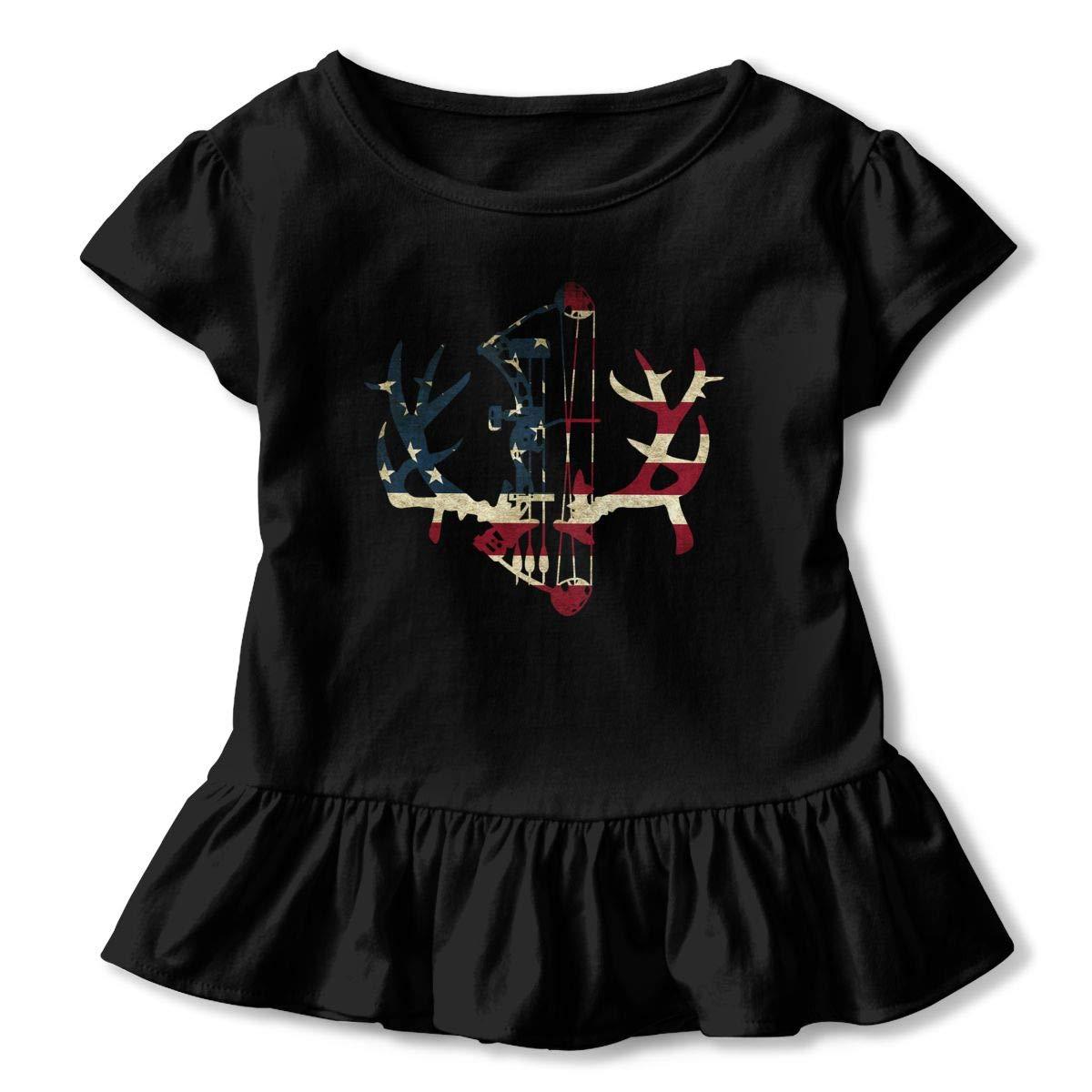 American Flag Deer Hunt Cute Short Sleeve Clothes for Boy Girl Dress Cotton T-Shirt Unique Bodysuit Romper,One-Piece Jumpsuit