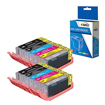 Fimpex Compatible Tinta Cartucho Reemplazo para Canon Pixma MG6350 MG7150 MG7500 MG7550 PGI550/CLI551 (Negro/Foto-Negro/Cian/Magenta/Amarillo/Gris, ...