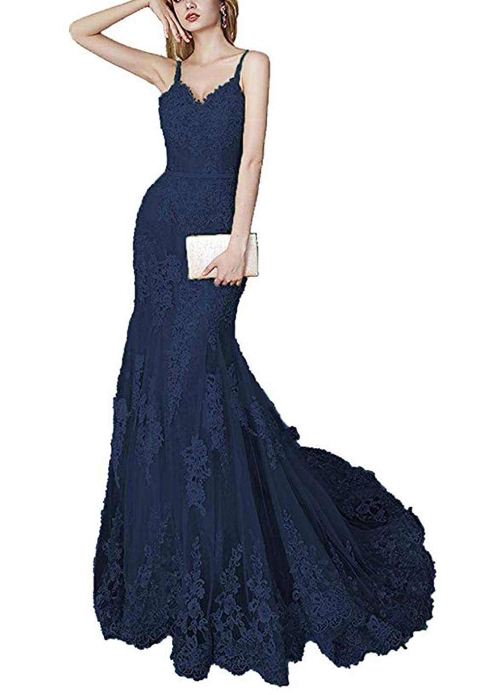 Navy bluee formalmall Women's Spaghetti Straps Mermaid Prom Dresses Long 2019 Lace Celebrity Wedding Gown with Train