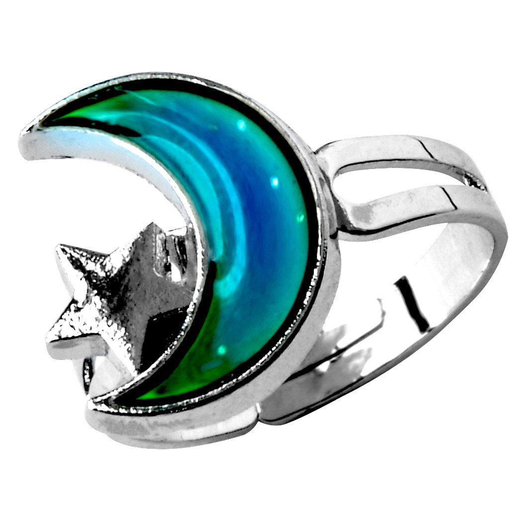 Arsmt Mood Ring Finger Ring Ajustable Size Moon and Star Color Changing Mood Emotion Feeling Ring
