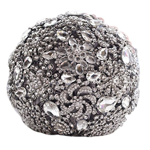 Snowskite Romantic Shiny Luxury Covered Diamond Wedding Bouquet brooches Flower Pearl Custom Bride Holding Bouquets(Grey) ()