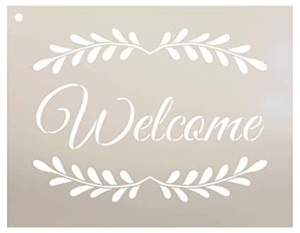 photo about Welcome Sign Template named Welcome with Leaves - Vertical Stencil via StudioR12 Reusable Mylar Template Employ the service of toward Paint Picket Signs or symptoms - Pallets - Pillows - Partitions - Do-it-yourself Household Decor -