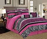 zebra comforter full size - 7 Pieces Hot Pink, Black and White Leopard Zebra Comforter (86