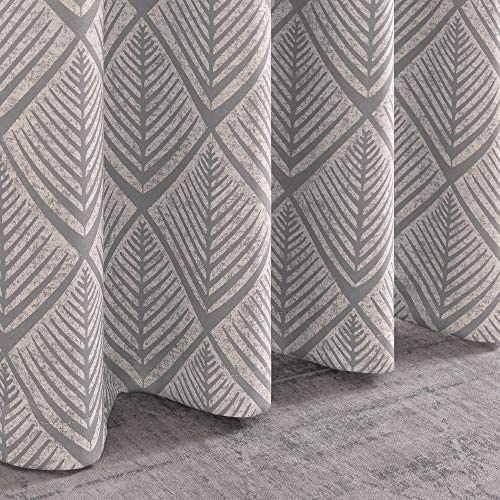 jinchan Blackout Curtains Geometric Patterns Design Grommet Top Bedroom Window Curtains Room Darkening Thermal Insulated Drapes 84 L Grey
