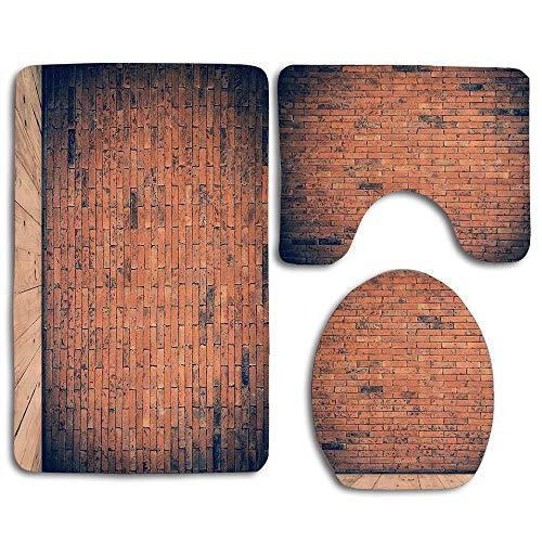 EnmindonglJHO Old Fashioned Bricks in Dark Room with Antique Wood Floor Vintage Ancient Retro Room Decor 3pcs Set Rugs Skidproof Toilet Seat Cover Bath Mat Lid Cover Cushions Pads