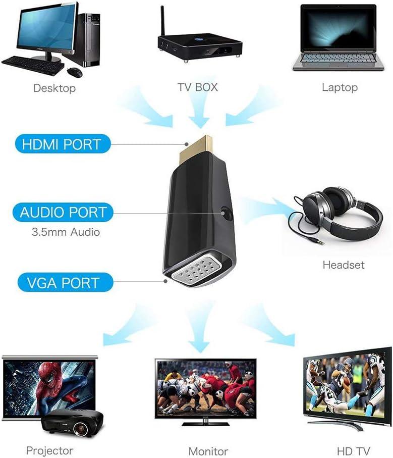 ETbotu 1080P HDMI to VGA Converter Adapter 3.5 mm Audio Video Jack Full HD PC Laptop