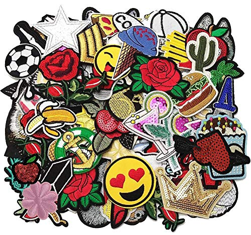 Libiline 50pcs Random Assorted Styles Embroidered Patch Sew On/Iron On Patch Applique Clothes Dress Plant Hat Jeans Sewing Flowers Applique Diy Accessory (Assorted-Style 5) ()