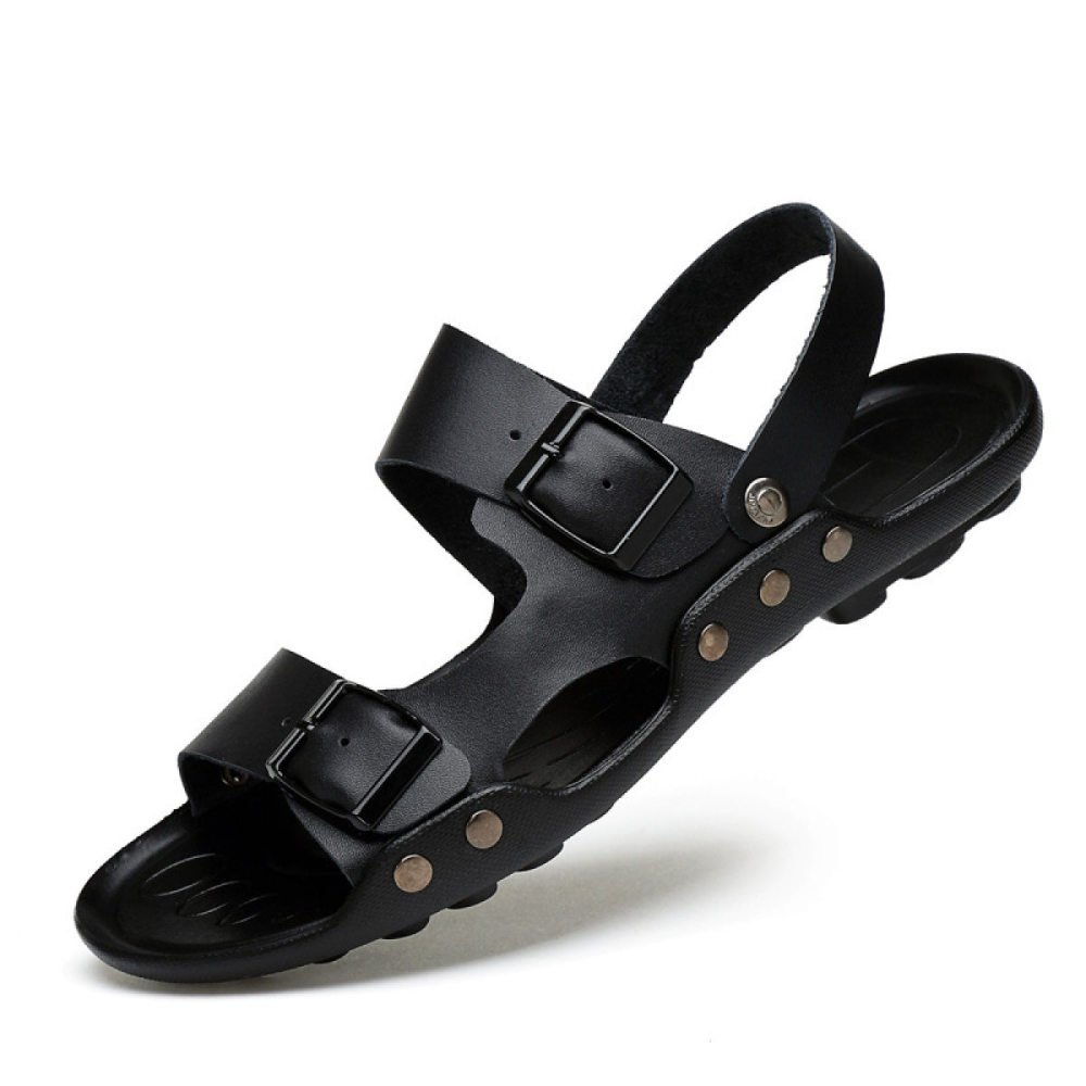 LEDLFIE Herren schwarz Sandalen Lederschuhe Casual Strandschuhe schwarz Herren fd169a