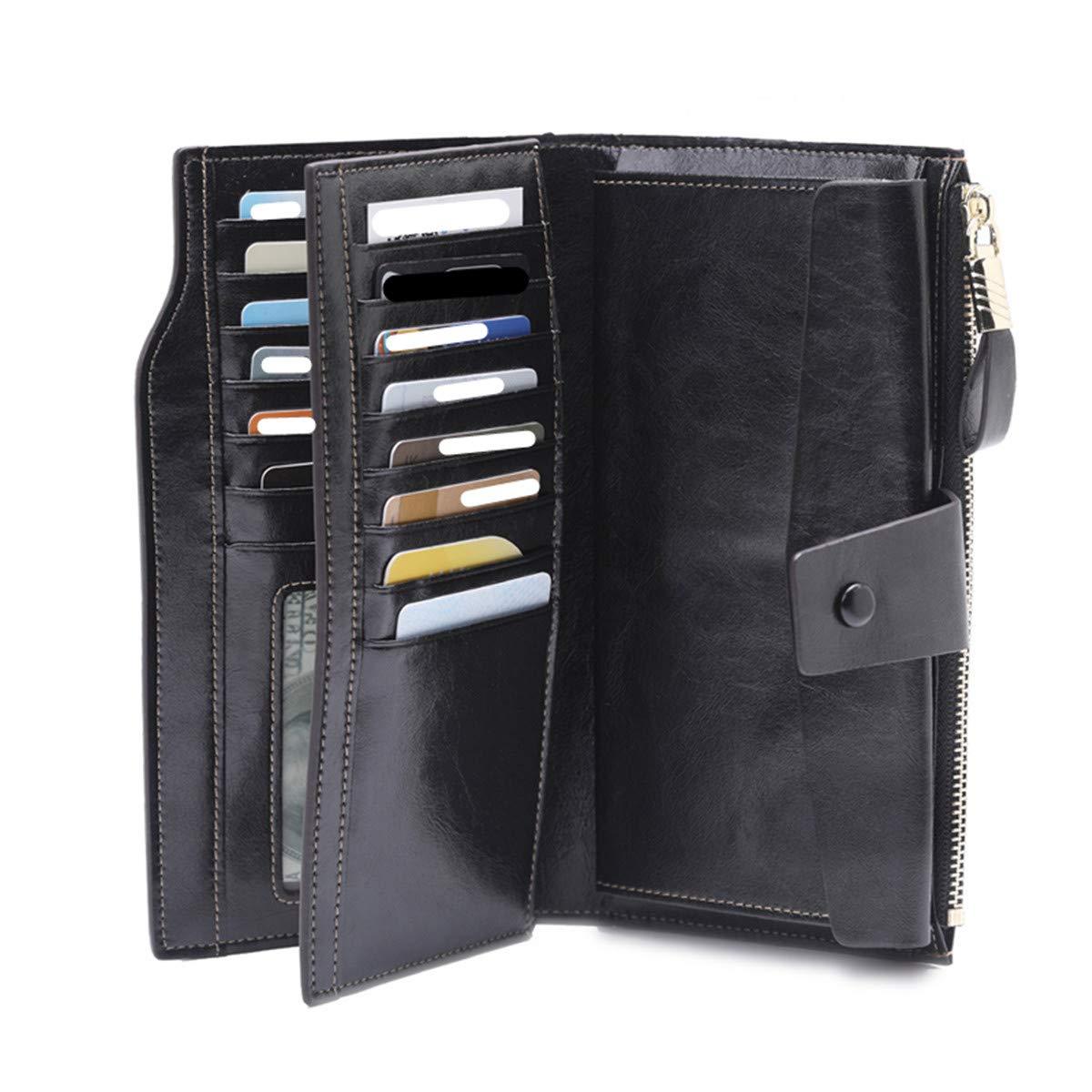 59bd42e7acfb LJYH Women's Cowhide Leather Wallet Card Case Clutch Wristlet Bag ...