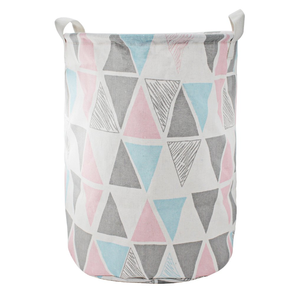 Large Size Toy Storage Bin Foldable Basket Bin Cylindric Laundry Basket Waterproof Nursery Hamper Collapsible Storage Hamper with Handles for Nursery, Office, Newspaper Organizers (Pink)