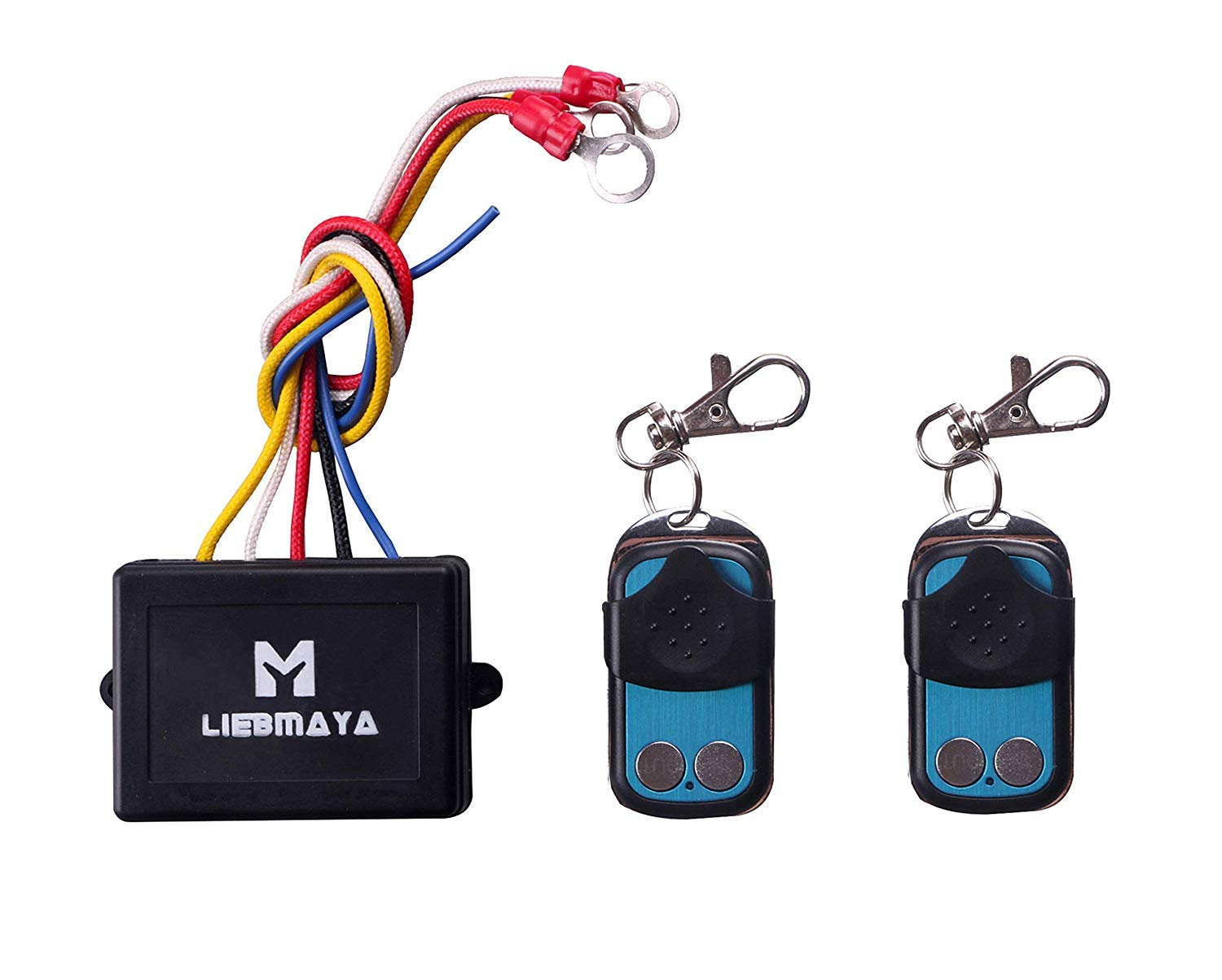 LIEBMAYA Wireless Winch Remote Control Kit for Truck Jeep ATV SUV 12V Switch Handset - with Two Keychain remotes by LIEBMAYA