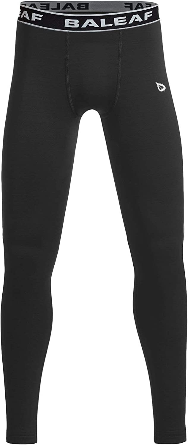 Sports 4-Way Stretch Workout Leggings Cool Dry Active Running Tights Compression Pants Baselayer TSLA Boys Youth UPF 50