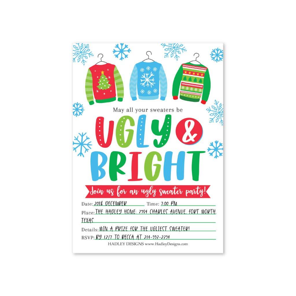 Amazon Com 25 Ugly Sweater Holiday Party Invitations