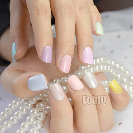 Amazon.com : 240Pcs Candy Color False Nails Tips Short Full Cover Fake Artificial Nails Manicure Nail Tips Pink Yellow Green Blue 10 sets same colors : ...