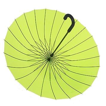 ssby Manual 24 Paraguas, agua flor sólido gancho paraguas creativo candy-colored hembra literarias