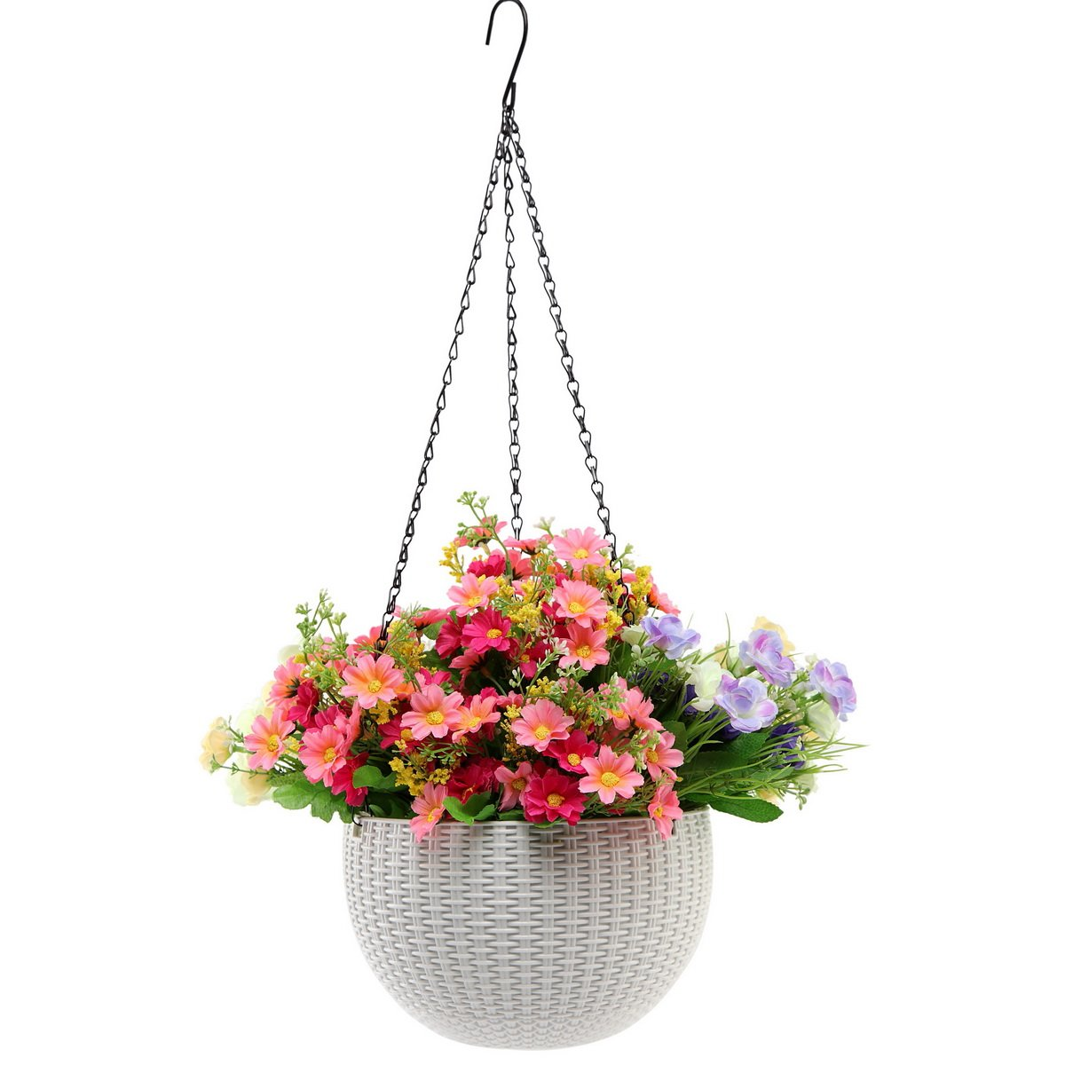 Hanging Planter -YIKUSH 8.66 In Round Decor Garden Rattan Plastic Flower Pot Basket for Plant,White