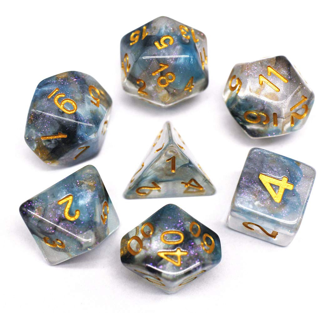 HD Dice DND Polyhedral Dice RPG Dice for Dungeons and Dragons,Pathfinder,MTG,D&D,Role Playing Games Black Blue Transparent Dice with Color Changing Glitter by HD