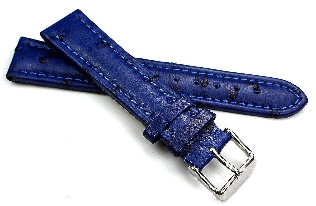 cinturino blu vera pelle stampa struzzo fibbia acciaio ansa 20 mm orologi straps