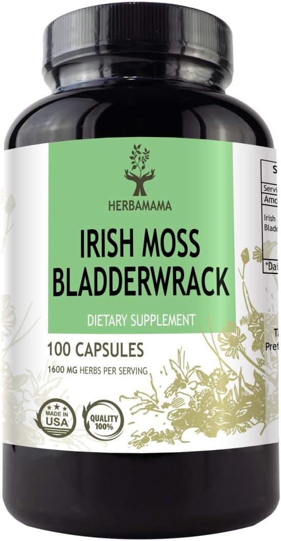 Irish Moss, Sea Moss and Bladderwrack 100 Capsules 1600 mg | Thyroid Support | Digestive Health | Immune Support | Anti-Inflammatory | Gluten-Free | Non-GMO