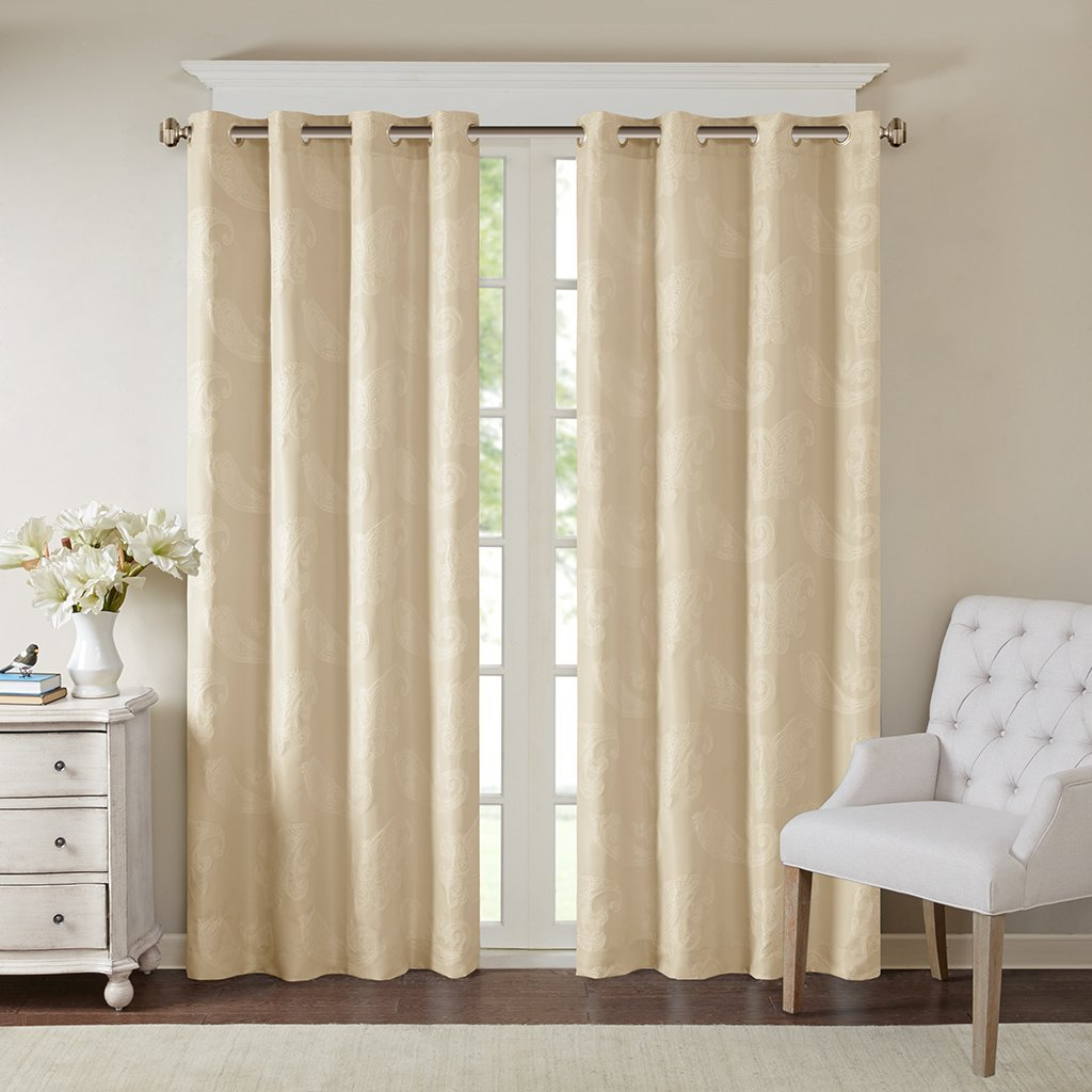 Madison Park Grommet Room Darkening Curtains for Bedroom Arabella Jacquard Tan Window Curtains for Living Room Family Room 1-Panel Pack 50X84 Polyester Transitional Window Curtains