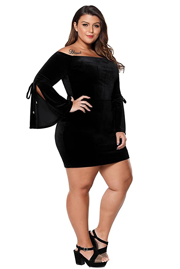 Amazon.com: LittleLittleSky Womens Sexy Velvet Off Shoulder Slit Long Bell Sleeve Plus Size Bodycon Dresses ((US 18-20)XXL, Wine)