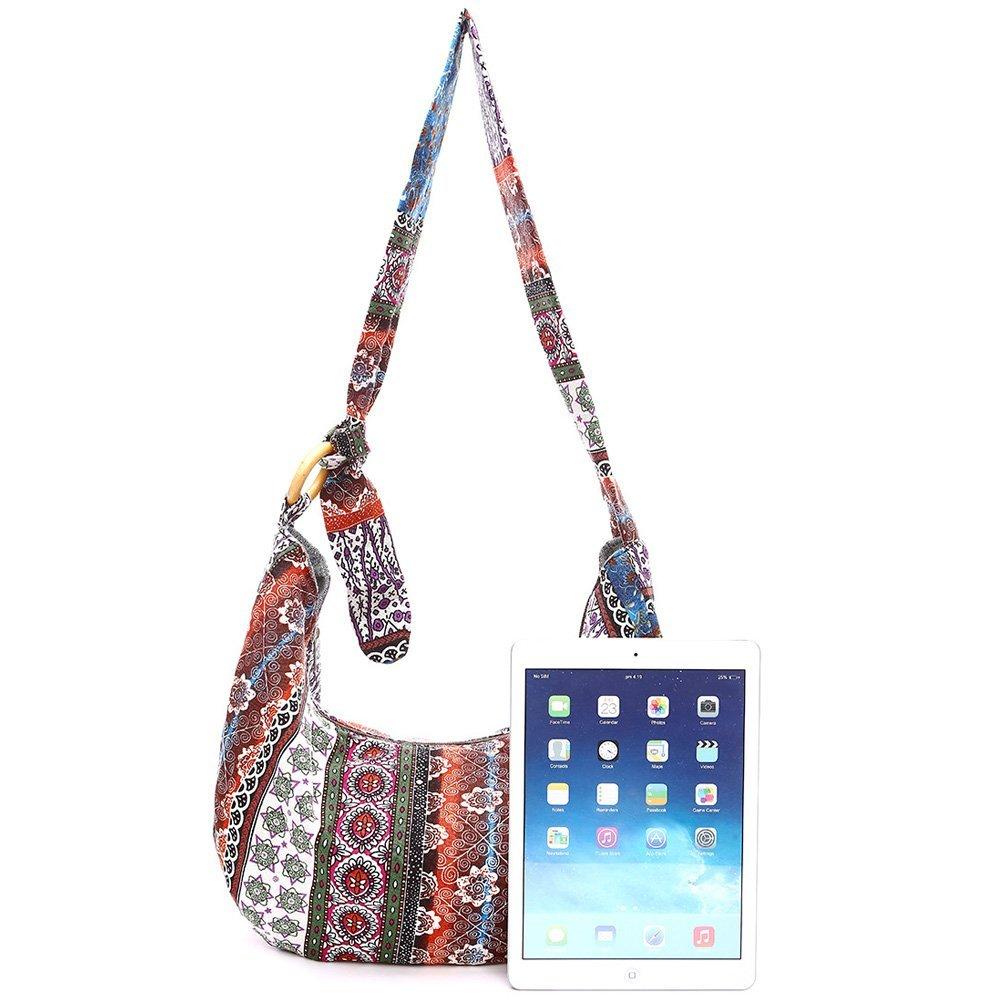 KARRESLY Large Bohemian Hippie Thai Top Zip Handmade Hobo Sling Crossbody Bag Purse Paisley Print with Adjustable Strap(6-856) by KARRESLY (Image #3)