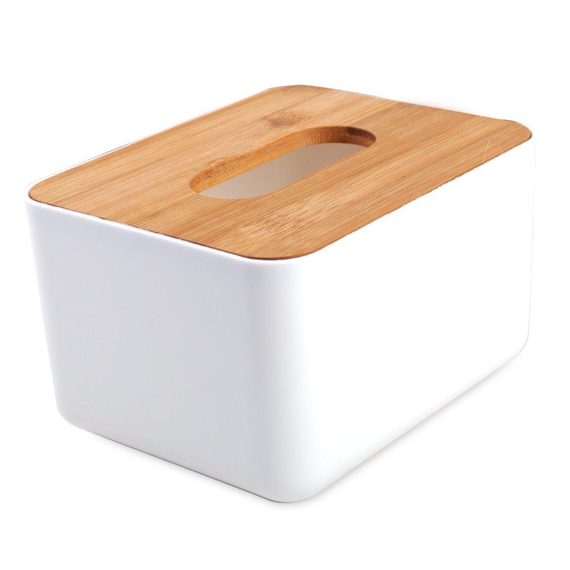 Wood Cover Plastic Tissue Box Napkin Paper Holder Dispenser Organizer Home Room Car Hotel