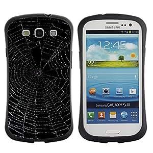 All-Round híbrido de goma duro caso cubierta protectora Accesorio Generación-I BY RAYDREAMMM - Samsung Galaxy S3 I9300 - Spider Web Black Night Glowing Night